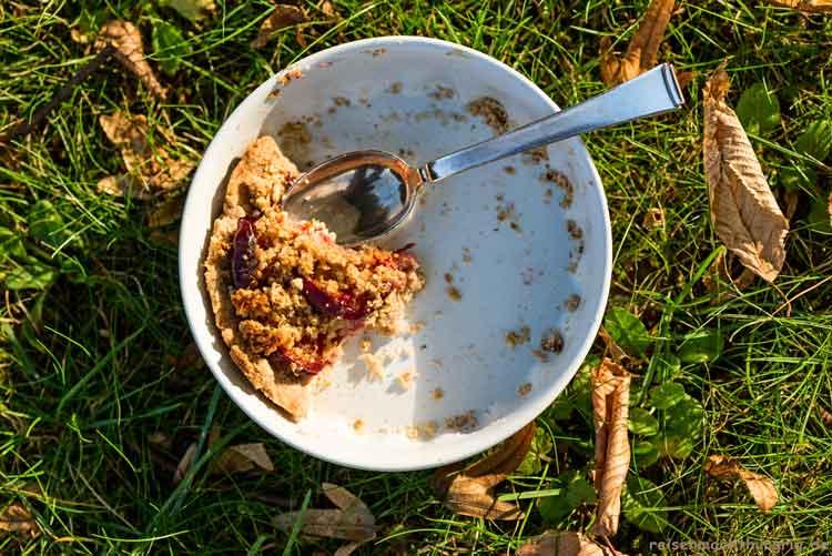 Fast leerer Teller im Gras